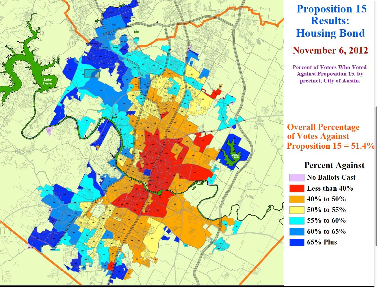 Map shows precinct results for Austin housing bond defeat Texas