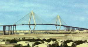 Rendering showing the proposed 205-foot tall bridge.