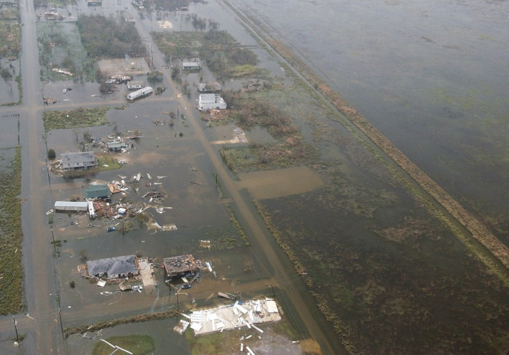 An aerial view showing floodwaters and destruction left in the aftermath of Hurricane Rita, in an area located near Galveston Bay, Texas (TX).
