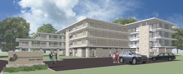 A rendering of the 35-unit apartment complex at Guadalupe-Saldaña.
