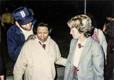 Chales Smith, Katherine Poole, Council member Sally Shipman in the early days of the fight to save Blackland Neighborhood from The University of Texas.